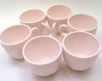 Vintage Six Jeanette Shell Pink Milk Glass Punch Cups