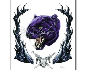 Panthor Art Print - Skeletor - He-Man - Panther art - MOTU - Pop Culture Art - Animal Portrait - Limited Edtion Print by Ryan Berkley