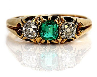 "Antique Emerald Ring Vintage 1900's Old Mine Cut Diamond Engagement Wedding Anniversary Ring Rose Gold ""The Kendra"""