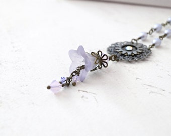 Violet Lucite Flower Pendant Necklace, Watch Gear Necklace