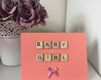 Scrabble New Baby Girl Handmade Card