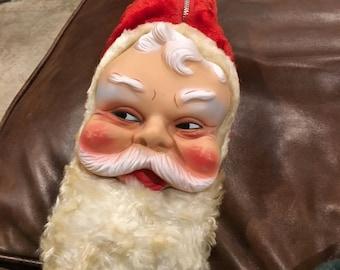 Vintage santa head Christmas pj bag for treats by bijou