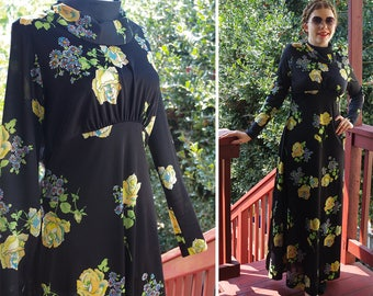 Yellow ROSE 1960's 70's Vintage Black + Yellow Floral MAXI Dress w/ Long Sleeves + Mock Collar // size Medium // by Paula BROOKS