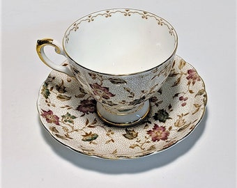 Free Shipping for Tuscan Teacup and Saucer Plant #1490 Very Fine Condition Chintz Fuschia and Teal Floral Motif with Vines and Fruit