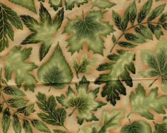 Nature's Brilliance Leaves w/ Gold Kaufman 1 Yard Fabric