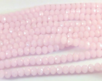 36 Pink Glass Bead Faceted Abacus Opaque Light Pink Rondelle 8x6mm - 8 in - G6021-PK36