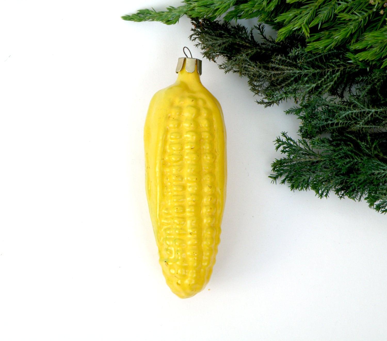Yellow Corn Christmas Glass Ornament Christmas Tree Yellow
