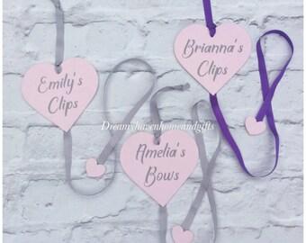 Hair Bow holder, bow hanger, bedroom decor, girls room, hair bow hanger, hair clip holder, glitter heart, ribbon hanger, hair accessories