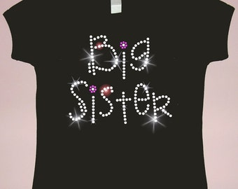 Sparkling Rhinestone Girls' BIG Sister, MIDDLE Sister or LITTLE Sister Shirt
