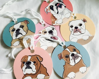 Bulldog Gift Tags - Circles - Set of 6