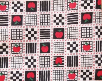 80s 90s vintage fabric remnant scrap of black and white checks with red apple motif