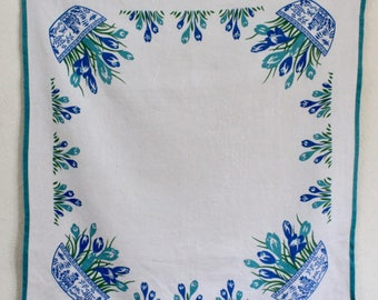 Springtime Crocus Vintage Tablecloth in Linen