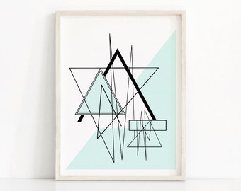 Instant Download Printable Art, Modern Wall Art Printable, Abstract Art Print, Digital Download Geometric Art, Mint Decor, Abstract Print