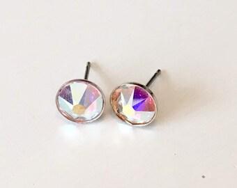 Aurora Borealis Swarovski Crystal Sterling Silver Round Stud Rainbow Earrings