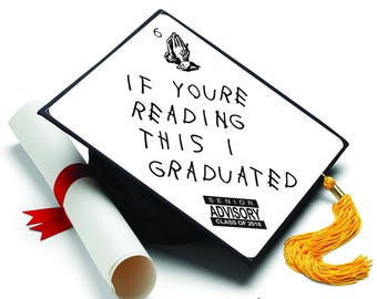 If Youu0027re Reading This I Graduated - Drake - Decorated Grad Cap - Decorating Kit - Ideas for Graduation Caps  sc 1 st  Etsy & American Flag Decorated Grad Cap Decorating Kit Ideas for