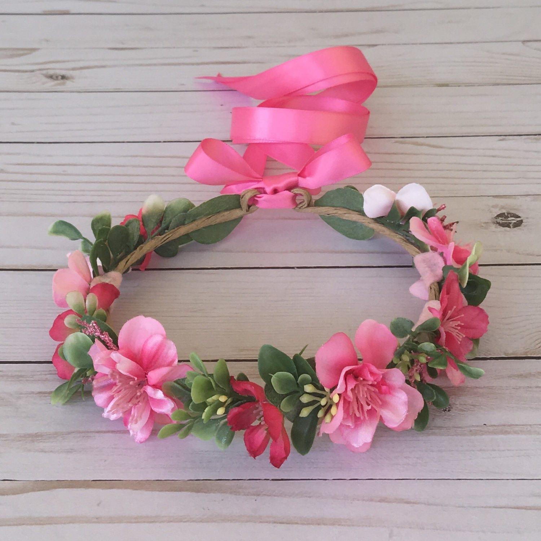 Pink Flower Crown Bright Pink Flower Girl Flower Crown Pink