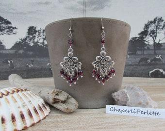 """Earrings silver dangle chandelier Bohemerouge Ruby Czech glass """"Apolline"""""""