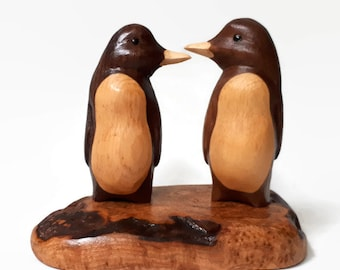 Gift for her 5th anniversary gifts gift for wife rustic wedding gift romantic couple gift handmade penguin wood carving wood annversary