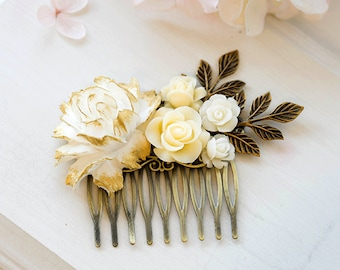 White Ivory Gold Rose Bridal Hair Comb Floral Flower Leaf Collage Comb Ivory Wedding Hair Accessory Vintage Country Cottage Wedding Comb