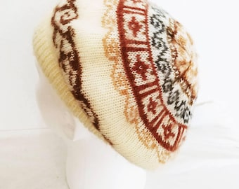Vintage Aris Beret Earth Tones Brown Blue White Boho Made in USA