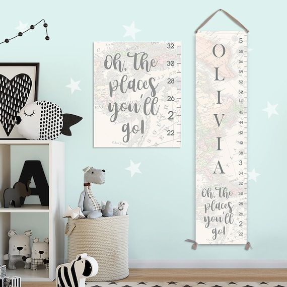 Oh The Places You'll Go Art - Personalized Canvas Growth Chart, Girl Growth Chart, Canvas Growth Chart - GC8013S
