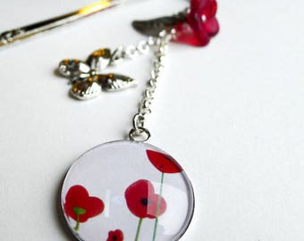 Bookmark, red poppies MP025