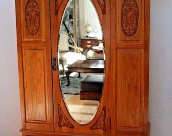 Antique Wardrobe Closet Carved Golden Oak Cedar Lined Beveled Mirror  Locking Insured Safe Nation Wide Shipping