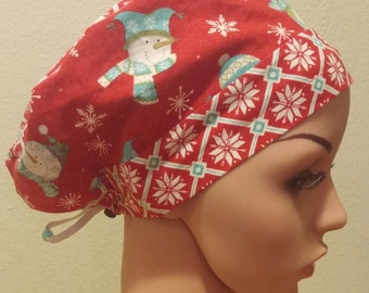 Women's Surgical Cap, Scrub Hat, Chemo Cap, Snowmen and Snowflakes