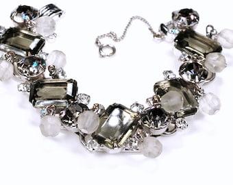 Juliana D&E Gray Rhinestone Glass Bead Dangle Bracelet