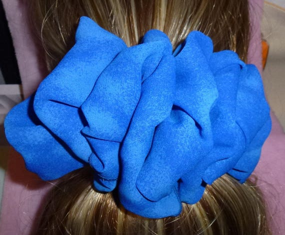 Becky Bows ~ ROSETTE Barrette Hand crafted giant huge Scarf BIG hair bow Women or Girls royal blue