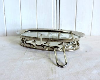 Vintage french silver plate foie gras, serving tray and slice