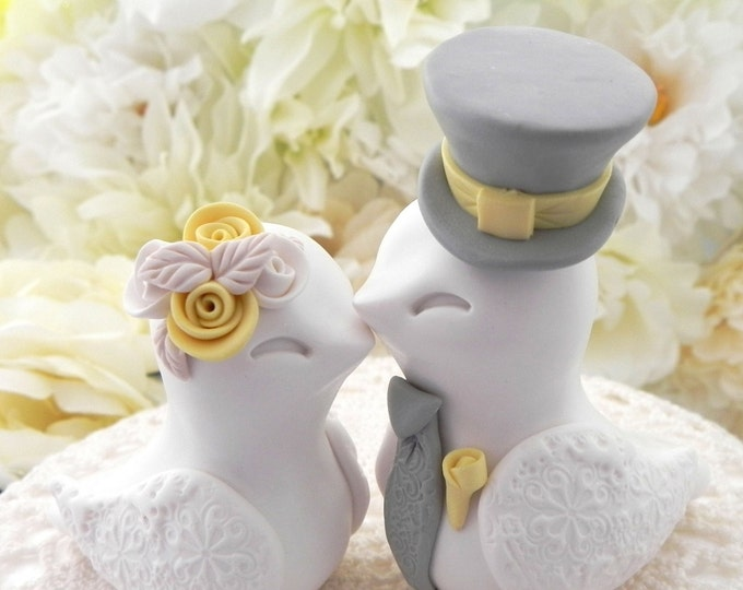 Love Birds Wedding Cake Topper, White, Yellow and Grey, Bride and Groom Keepsake, Fully Personalized