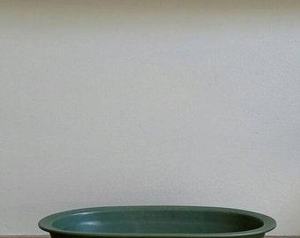 Vintage Hyalyn Matte Green Platter, Oval Green Planter