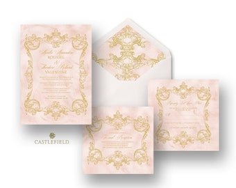 Castlefield Pink Gold Baroque Rococo Flourishes Wedding Event Invitations RSVP Reception Stationery Customized Printable Luxury
