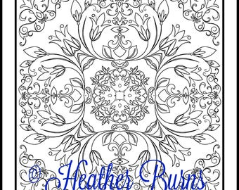 Coloring Page/Tulip Flowers Tile to Color/Adult Coloring/Mandala Coloring/Colouring Page/Adult Colouring