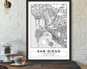 San Diego, California, City map, Poster, Printable, Print, Street map, Wall art
