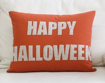 "NEW! Decorative Pillow, Throw Pillow, ""Happy Halloween"" throw pillow, 14X18 inch throw pillow NEW!"