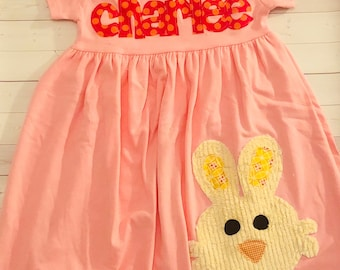 Bunny Dress, Bunny Outfit, Easter Dress - Personalized Dress with Bunny Applique- You Choose Dress Color and Sleeve Length