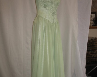 On Sale 1960's Evening Dress Pale Apple Green and Beaded Chiffon