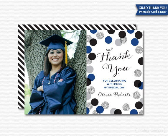 Printable Grad Thank You Card Graduation Thanks Digital Photo
