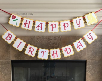 Princess Belle Party - Personalized Belle Banner - Beauty and the Beast Happy First 1st Birthday Decorations Custom Name Engagement Wedding