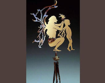 Wind Chime / Mobile - Mother and Child Fairy with Obsidian Chimes - Faeries & Magic