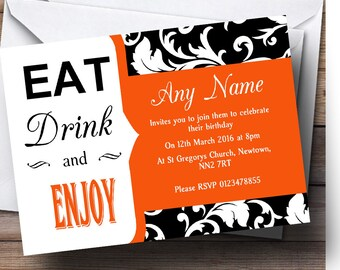 Orange Damask Eat Drink Personalised Birthday Party Invitations