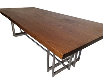 Slab Dining Table With Steel Base