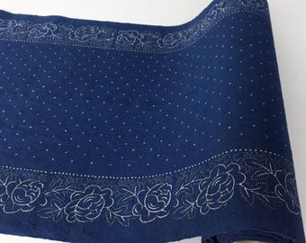 Blue dyed, hand printed, linen fabric / table runner 48 cm wide, B28-K88