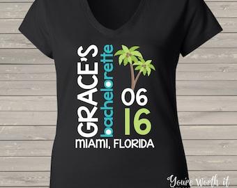 bachelorette party shirts - beach palm tree bachelorette party - beach v-neck bachelorette party