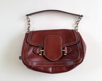 Vintage Bag, Small Flap Bag, Handbag, Burgundy Color Purse, Man Made Materials