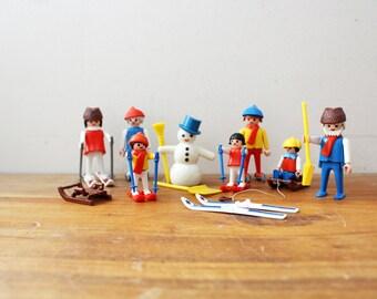 vintage 70s Playmobil Winter Sport Play Set 3467 Skis Sleds Snowmen Pretend Play Toy