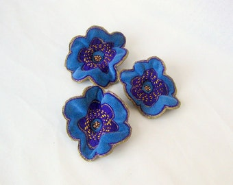 Shawl pin brooch embroidered blue velvet flower