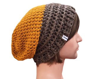 Slouchy Beanie Pumplin Orange and Oatmeal Brown Slouch Beanie